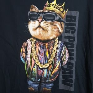 Big Paw Paw black cat graphic tee funny